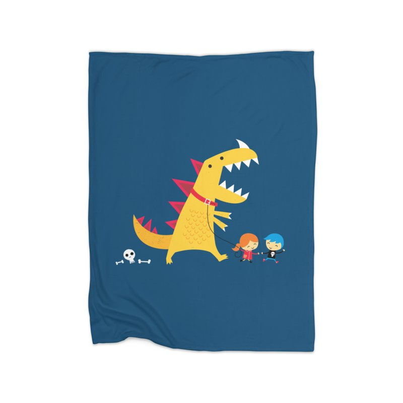 Dino Walk Home Fleece Blanket Blanket by DinoMike's Artist Shop