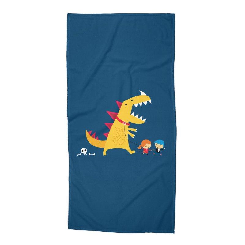 Dino Walk Accessories Beach Towel by DinoMike's Artist Shop