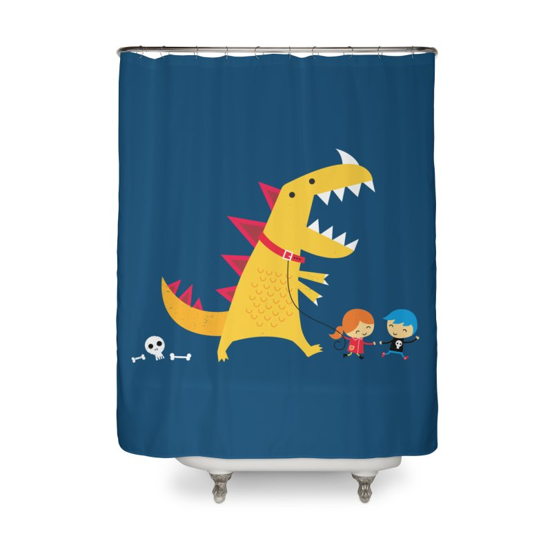 Dino Walk Home Shower Curtain by DinoMike's Artist Shop