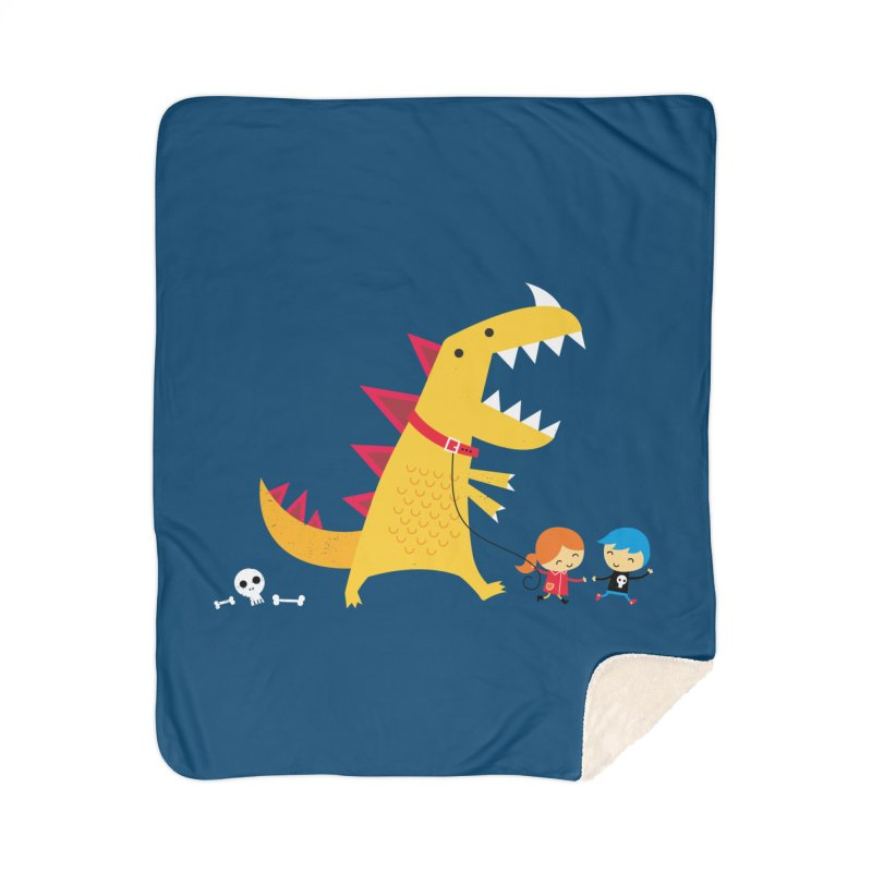 Dino Walk Home Sherpa Blanket Blanket by DinoMike's Artist Shop
