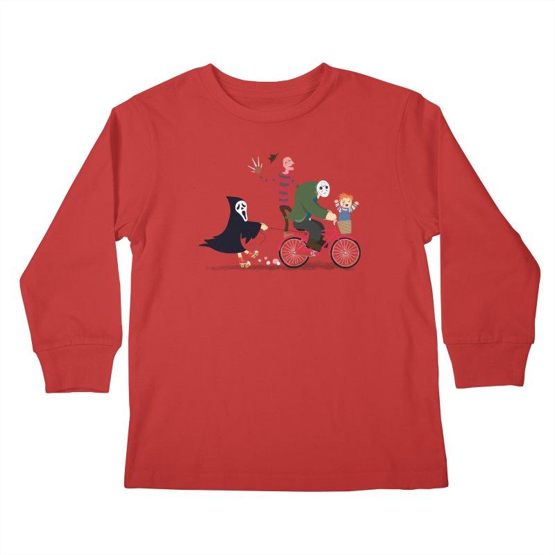 Horror Night Off Kids Longsleeve T-Shirt by DinoMike's Artist Shop