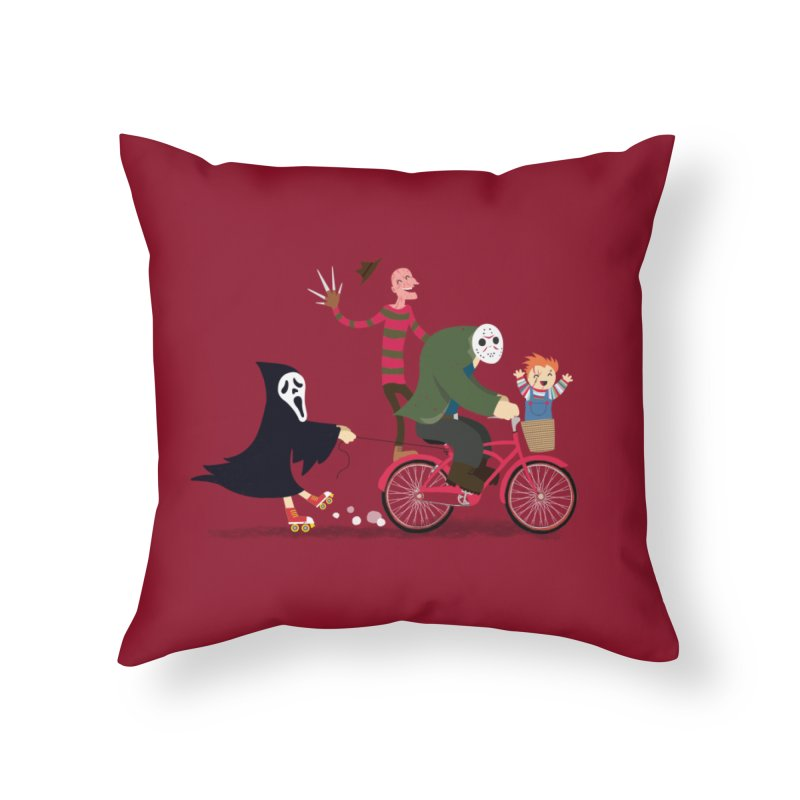 Horror Night Off Home Throw Pillow by DinoMike's Artist Shop
