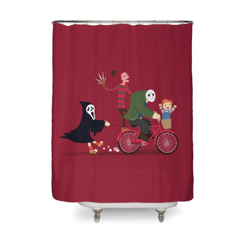 Horror Night Off Home Shower Curtain by DinoMike's Artist Shop