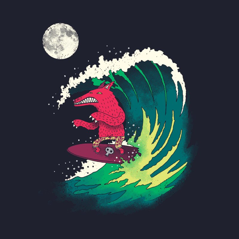 Moonlight Surfer Men's T-Shirt by DinoMike's Artist Shop