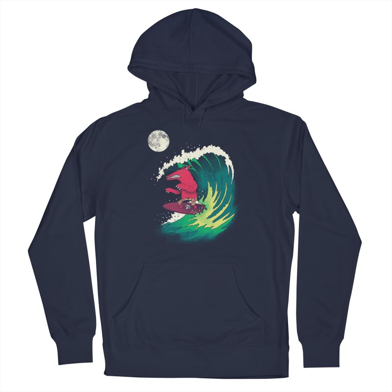 Moonlight Surfer Men's French Terry Pullover Hoody by DinoMike's Artist Shop
