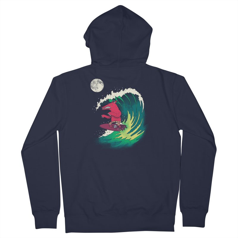 Moonlight Surfer Men's French Terry Zip-Up Hoody by DinoMike's Artist Shop