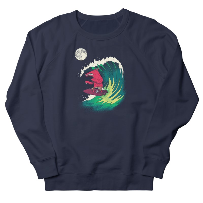 Moonlight Surfer Men's French Terry Sweatshirt by DinoMike's Artist Shop