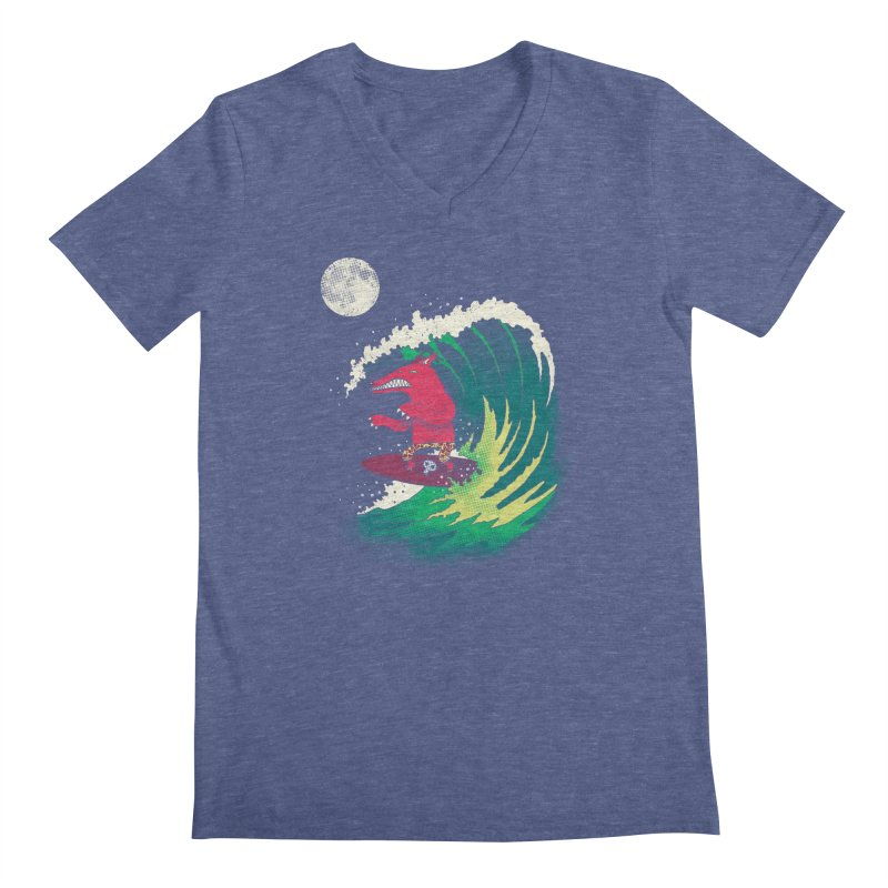 Moonlight Surfer Men's V-Neck by DinoMike's Artist Shop