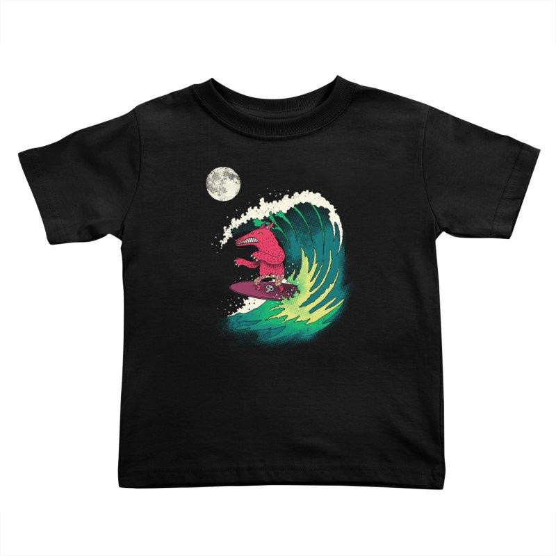 Moonlight Surfer Kids Toddler T-Shirt by DinoMike's Artist Shop