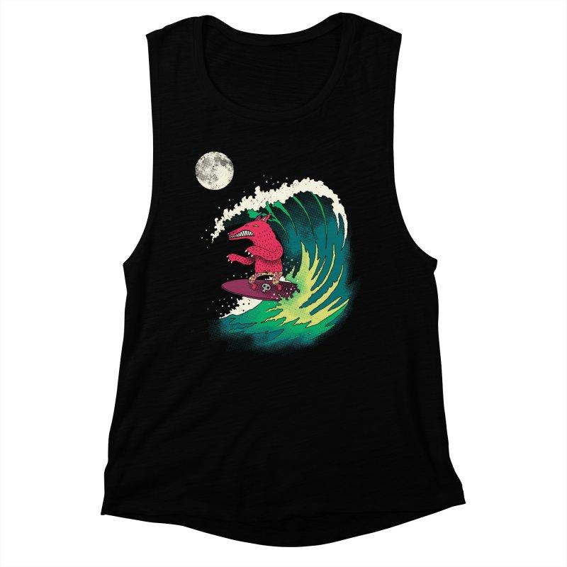 Moonlight Surfer Women's Muscle Tank by DinoMike's Artist Shop