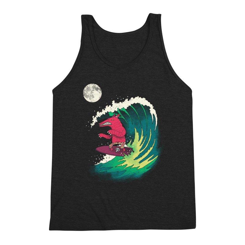 Moonlight Surfer Men's Triblend Tank by DinoMike's Artist Shop