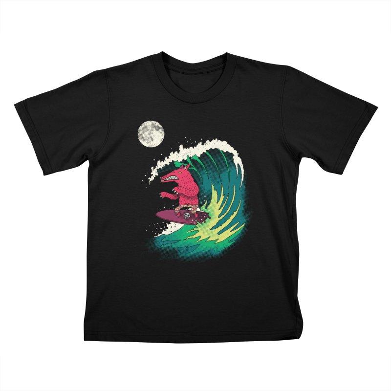 Moonlight Surfer Kids T-shirt by DinoMike's Artist Shop