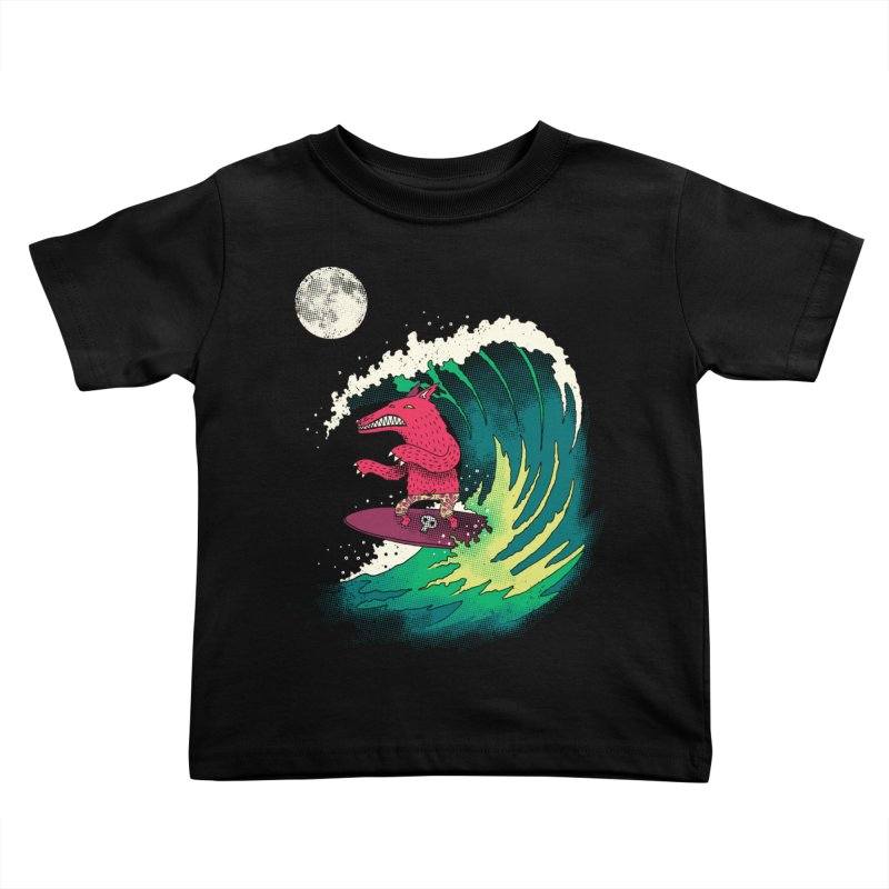 Moonlight Surfer Kids Toddler T-Shirt by DinoMike's Artist Shop