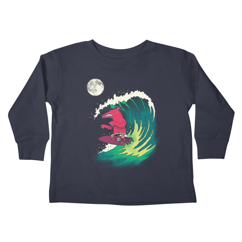 Moonlight Surfer Kids Toddler Longsleeve T-Shirt by DinoMike's Artist Shop