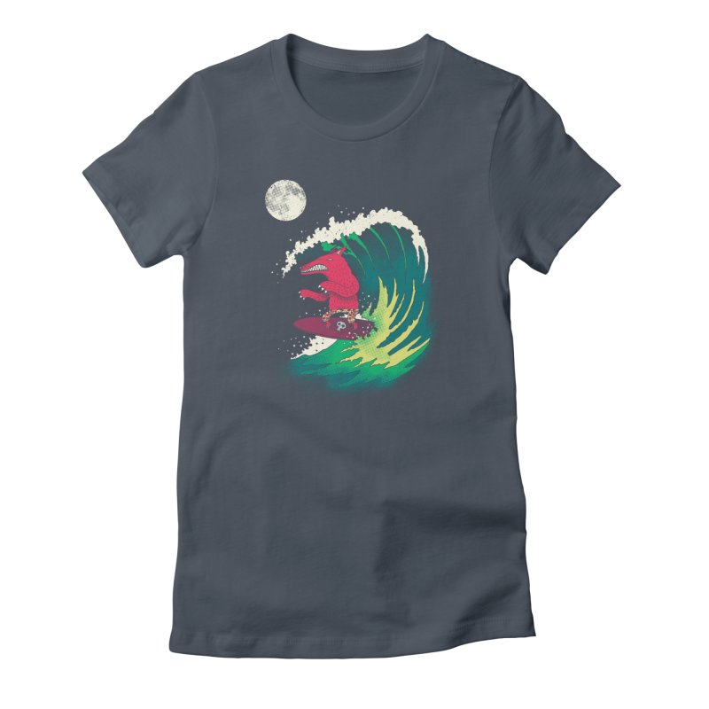Moonlight Surfer Women's T-Shirt by DinoMike's Artist Shop