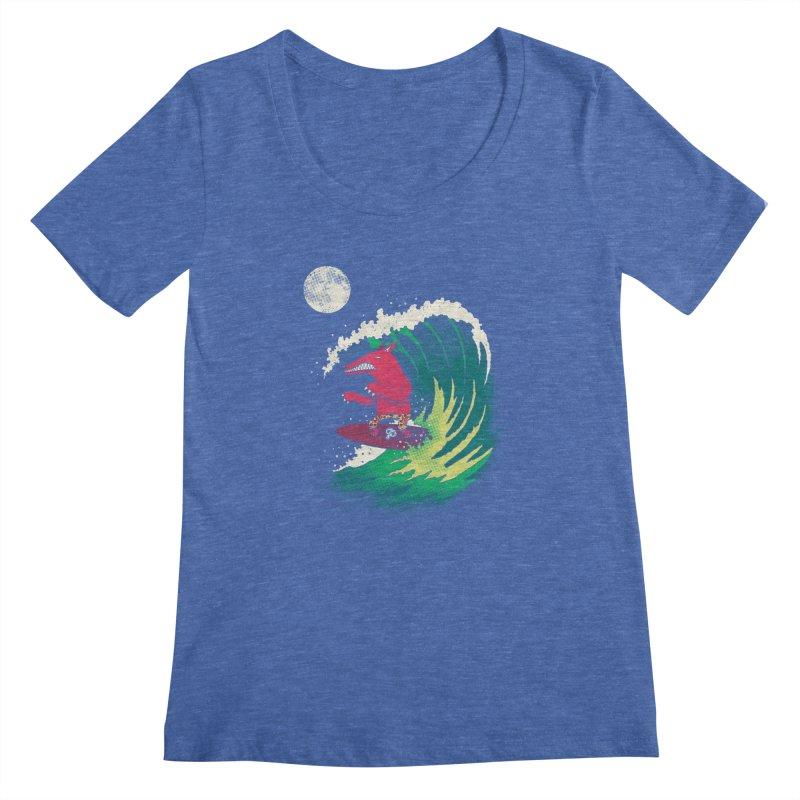 Moonlight Surfer Women's Scoopneck by DinoMike's Artist Shop
