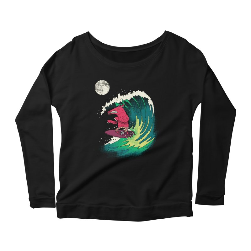 Moonlight Surfer Women's Scoop Neck Longsleeve T-Shirt by DinoMike's Artist Shop