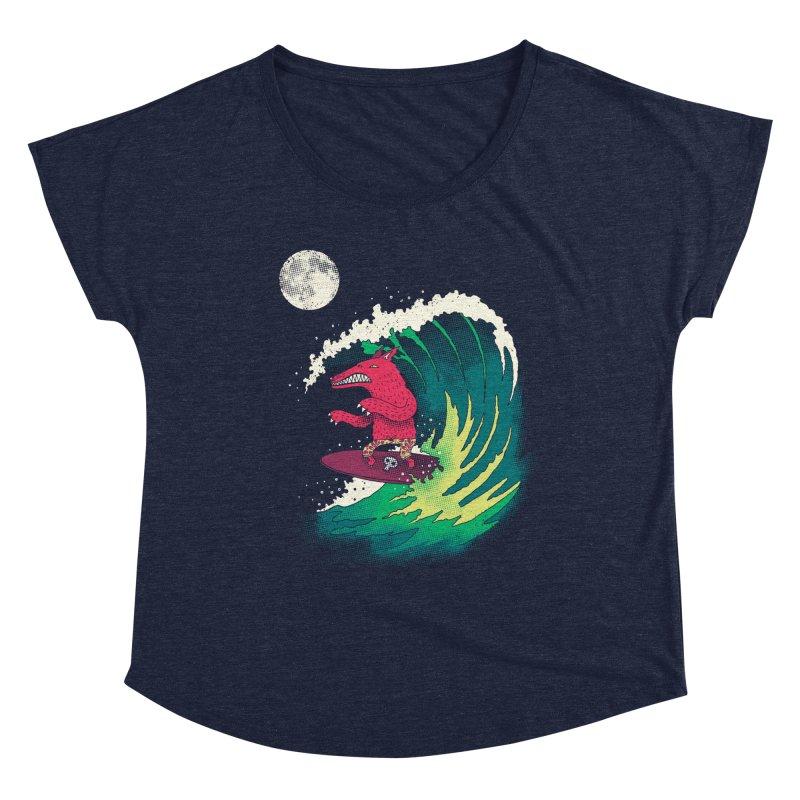Moonlight Surfer Women's Dolman Scoop Neck by DinoMike's Artist Shop