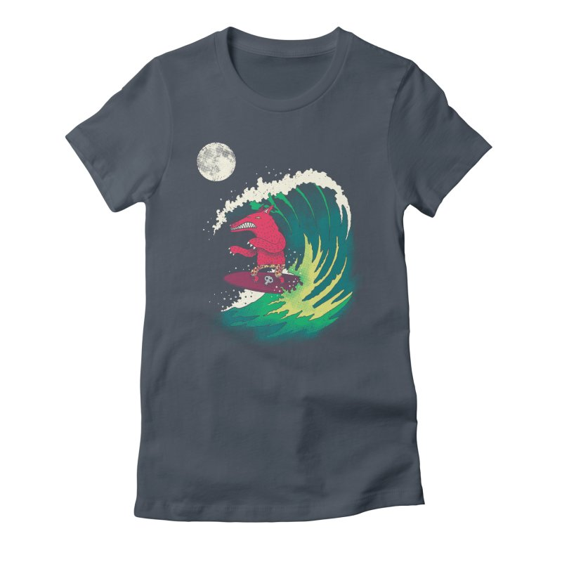 Moonlight Surfer Women's Fitted T-Shirt by DinoMike's Artist Shop