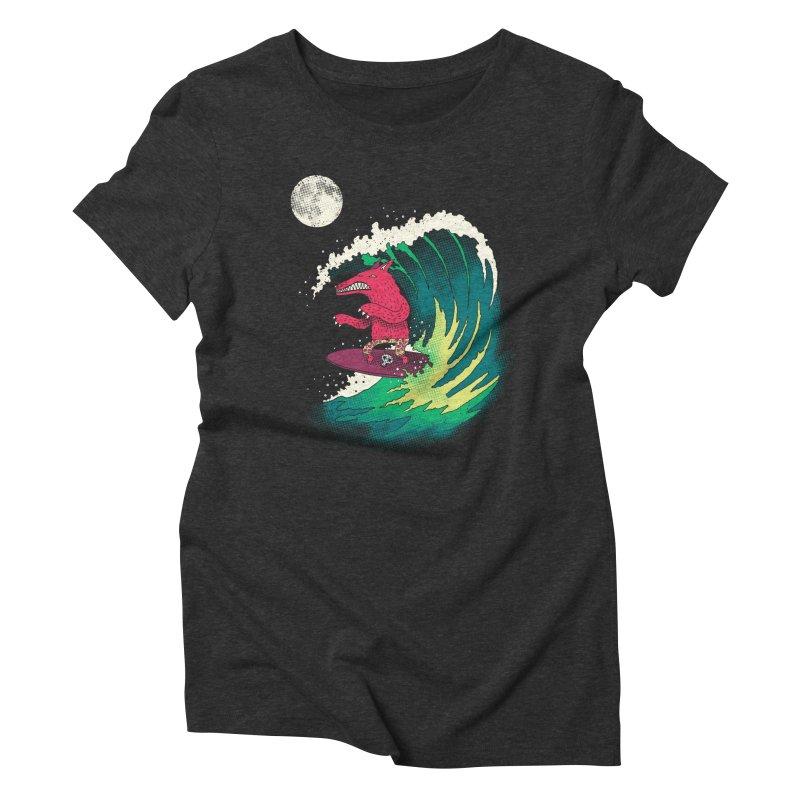 Moonlight Surfer Women's Triblend T-shirt by DinoMike's Artist Shop