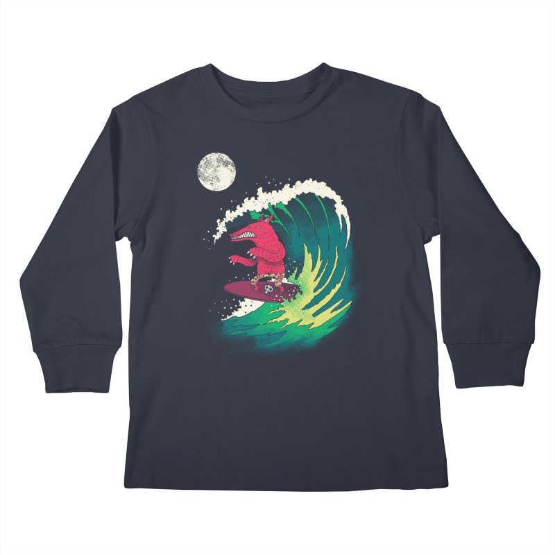 Moonlight Surfer Kids Longsleeve T-Shirt by DinoMike's Artist Shop