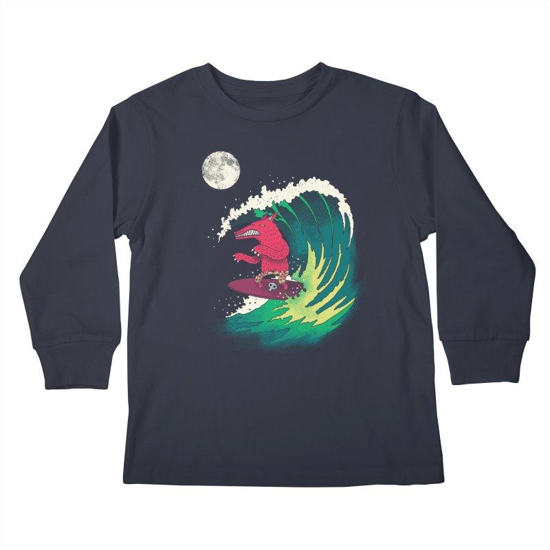 Moonlight Surfer Kids Longsleeve T-Shirt by DinoMike's Artist Shop