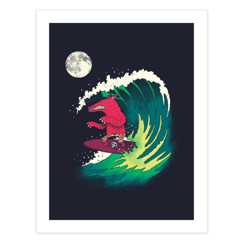 Moonlight Surfer Home Fine Art Print by DinoMike's Artist Shop