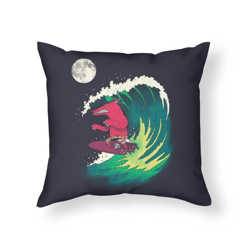 Moonlight Surfer Home Throw Pillow by DinoMike's Artist Shop