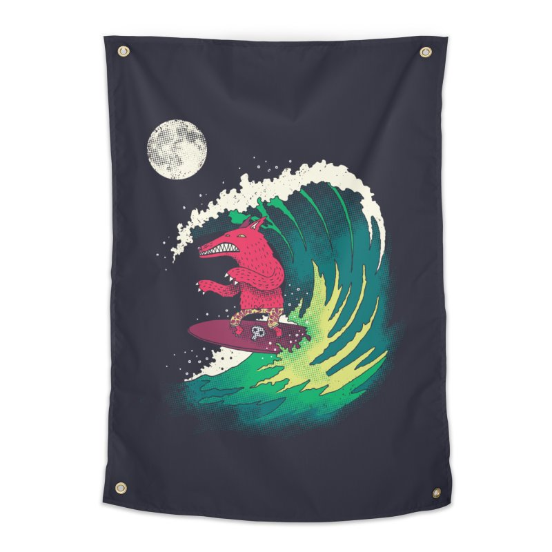 Moonlight Surfer Home Tapestry by DinoMike's Artist Shop