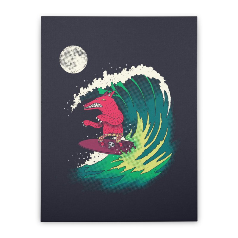 Moonlight Surfer Home Stretched Canvas by DinoMike's Artist Shop