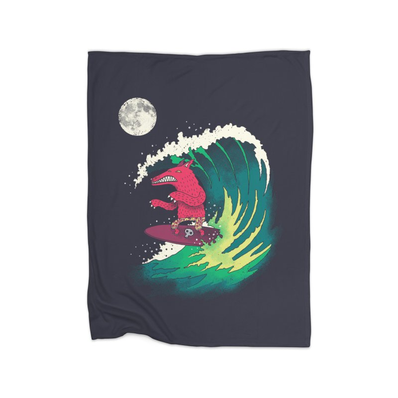 Moonlight Surfer Home Fleece Blanket Blanket by DinoMike's Artist Shop