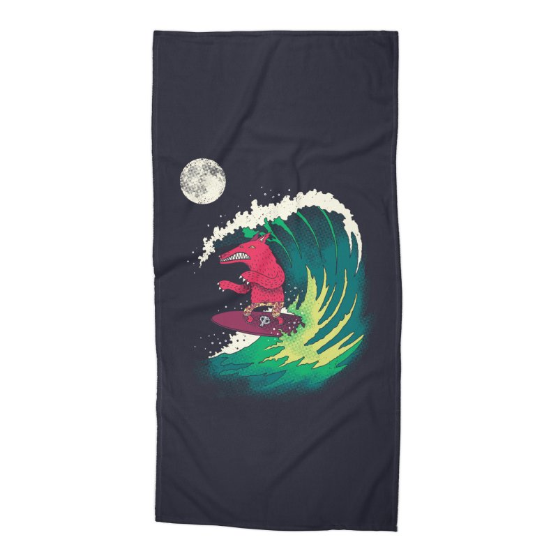 Moonlight Surfer Accessories Beach Towel by DinoMike's Artist Shop