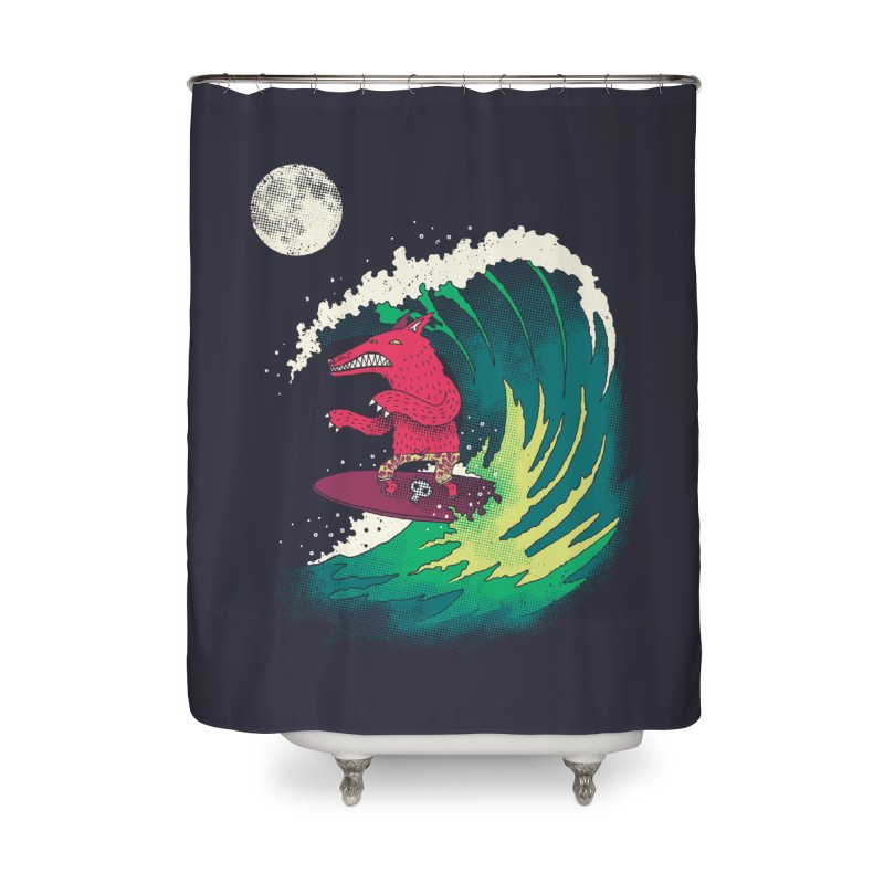 Moonlight Surfer Home Shower Curtain by DinoMike's Artist Shop