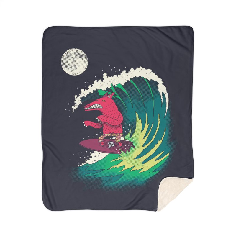 Moonlight Surfer Home Sherpa Blanket Blanket by DinoMike's Artist Shop