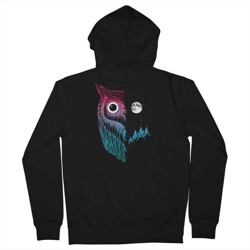 Night Owl Men's French Terry Zip-Up Hoody by DinoMike's Artist Shop