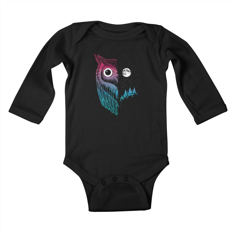 Night Owl Kids Baby Longsleeve Bodysuit by DinoMike's Artist Shop