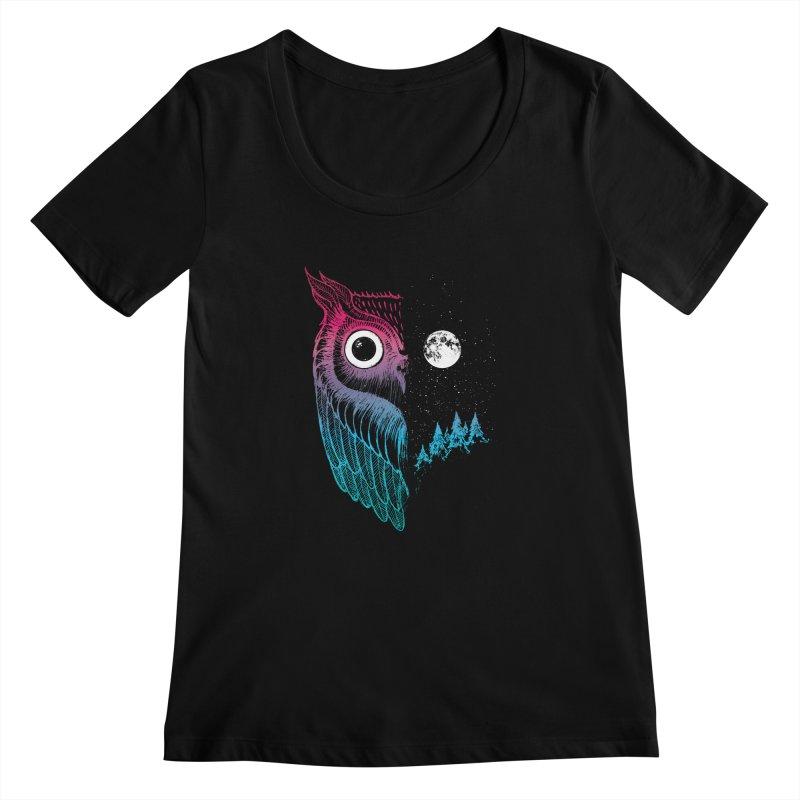 Night Owl Women's Scoopneck by DinoMike's Artist Shop
