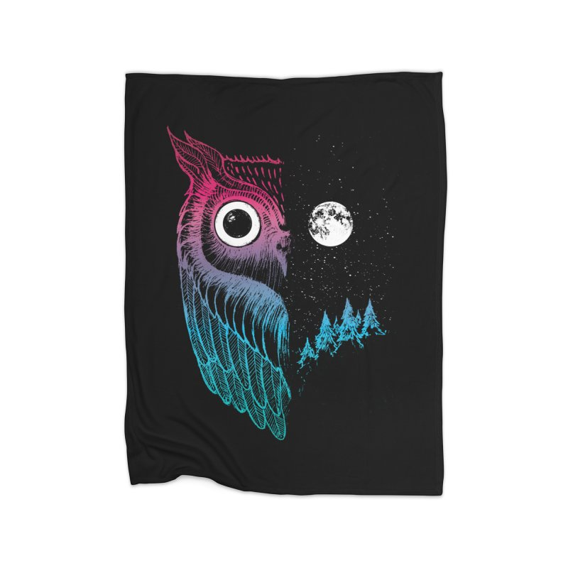 Night Owl Home Fleece Blanket Blanket by DinoMike's Artist Shop