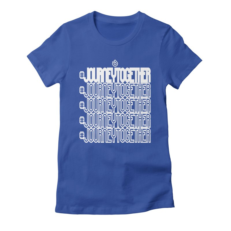 journeytogether repeat white print Women's Fitted T-Shirt by direction.church gear