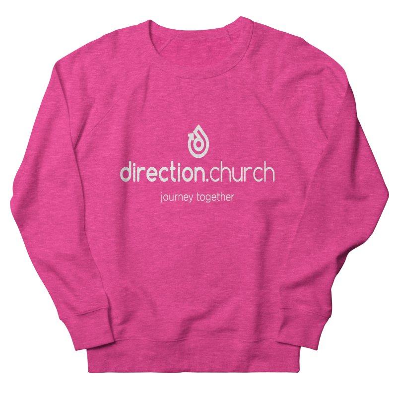 White Logo Shirts Women's French Terry Sweatshirt by direction.church gear