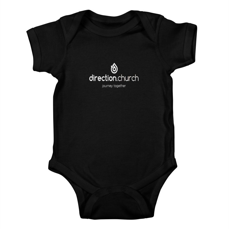 White Logo Shirts Kids Baby Bodysuit by direction.church gear