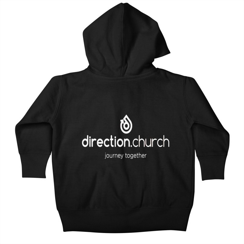 White Logo Shirts Kids Baby Zip-Up Hoody by direction.church gear