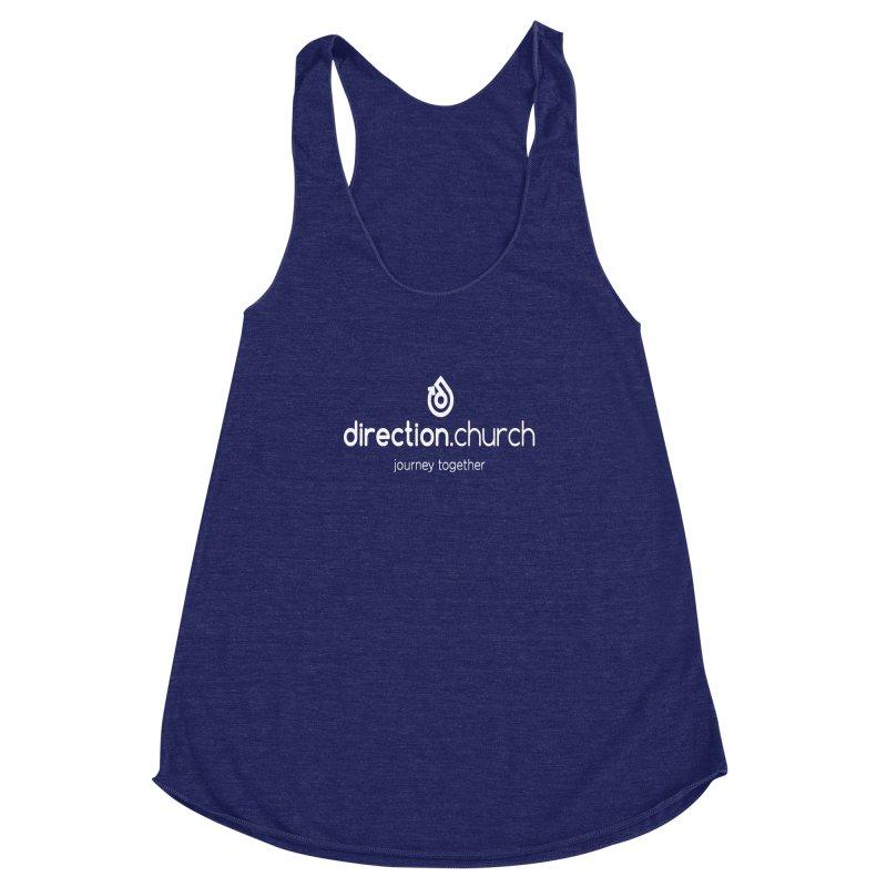 White Logo Shirts Women's Racerback Triblend Tank by direction.church gear