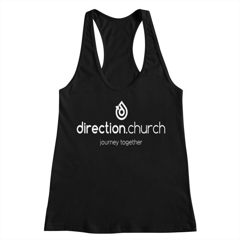 White Logo Shirts Women's Racerback Tank by direction.church gear