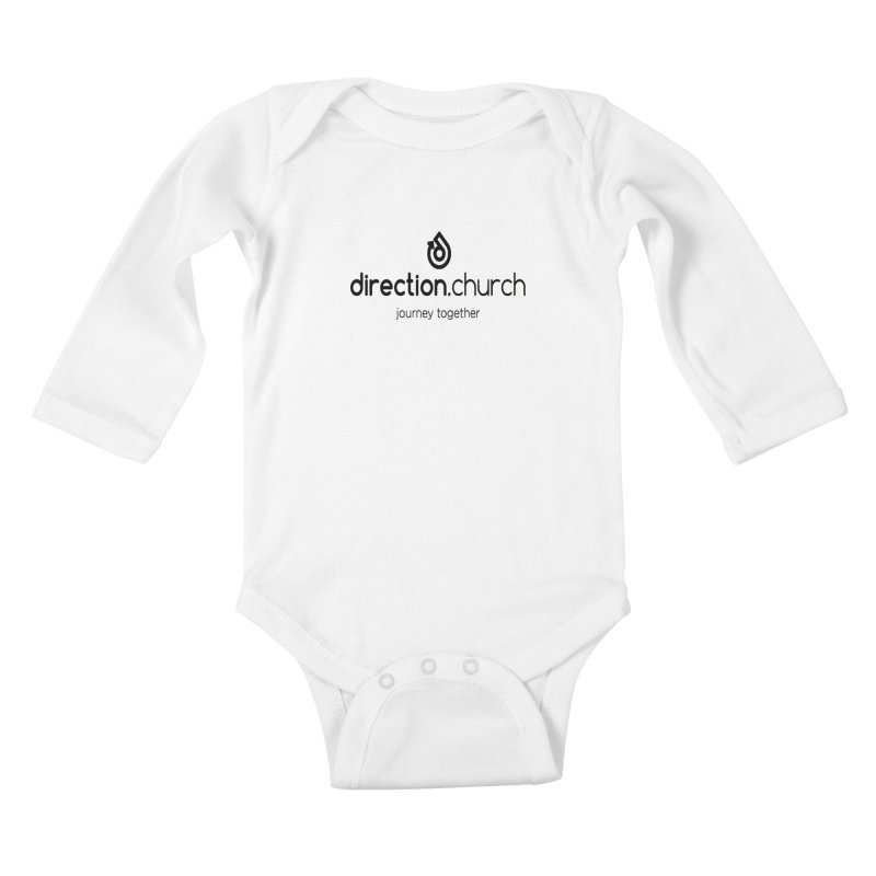 Black Logo Shirts Kids Baby Longsleeve Bodysuit by direction.church gear