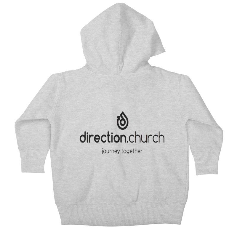 Black Logo Shirts Kids Baby Zip-Up Hoody by direction.church gear