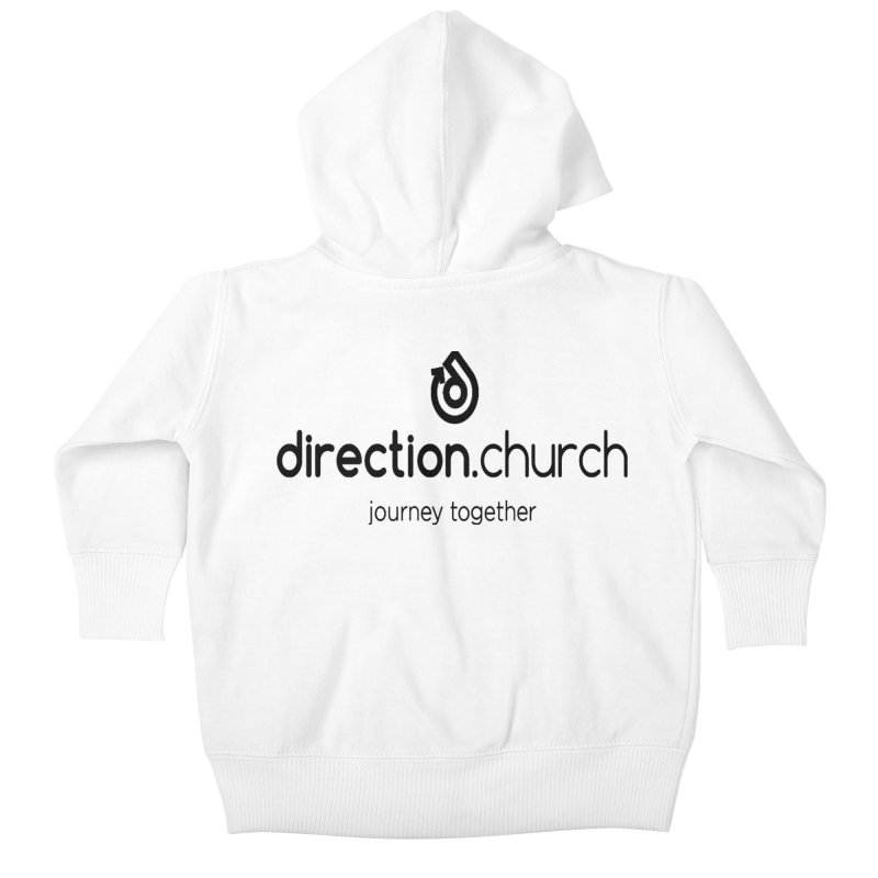 Black Logo Shirts Kids Baby Zip-Up Hoody by direction.church gear