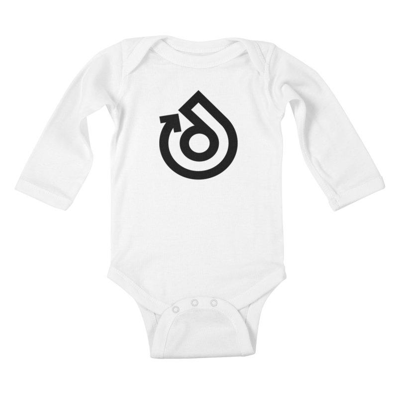 Full Logo Only Black Kids Baby Longsleeve Bodysuit by direction.church gear