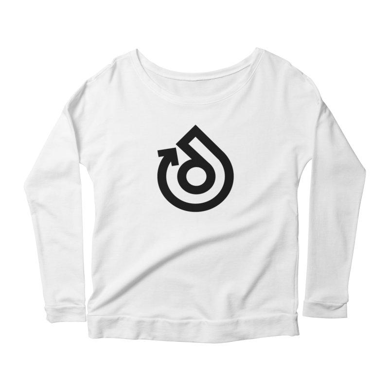 Full Logo Only Black Women's Scoop Neck Longsleeve T-Shirt by direction.church gear