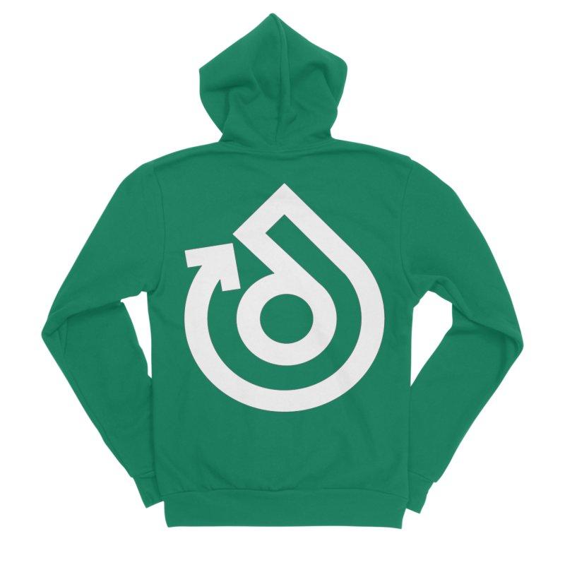 white logo only Women's Sponge Fleece Zip-Up Hoody by direction.church gear